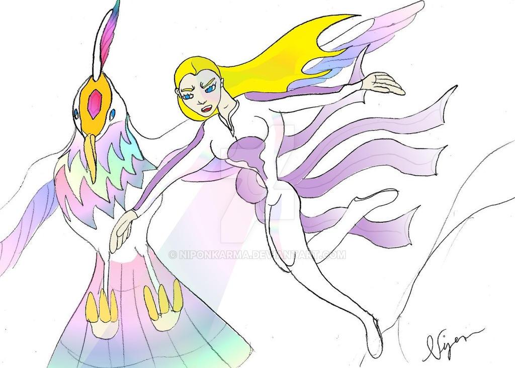 The celestial bird and Plum by Niponkarma
