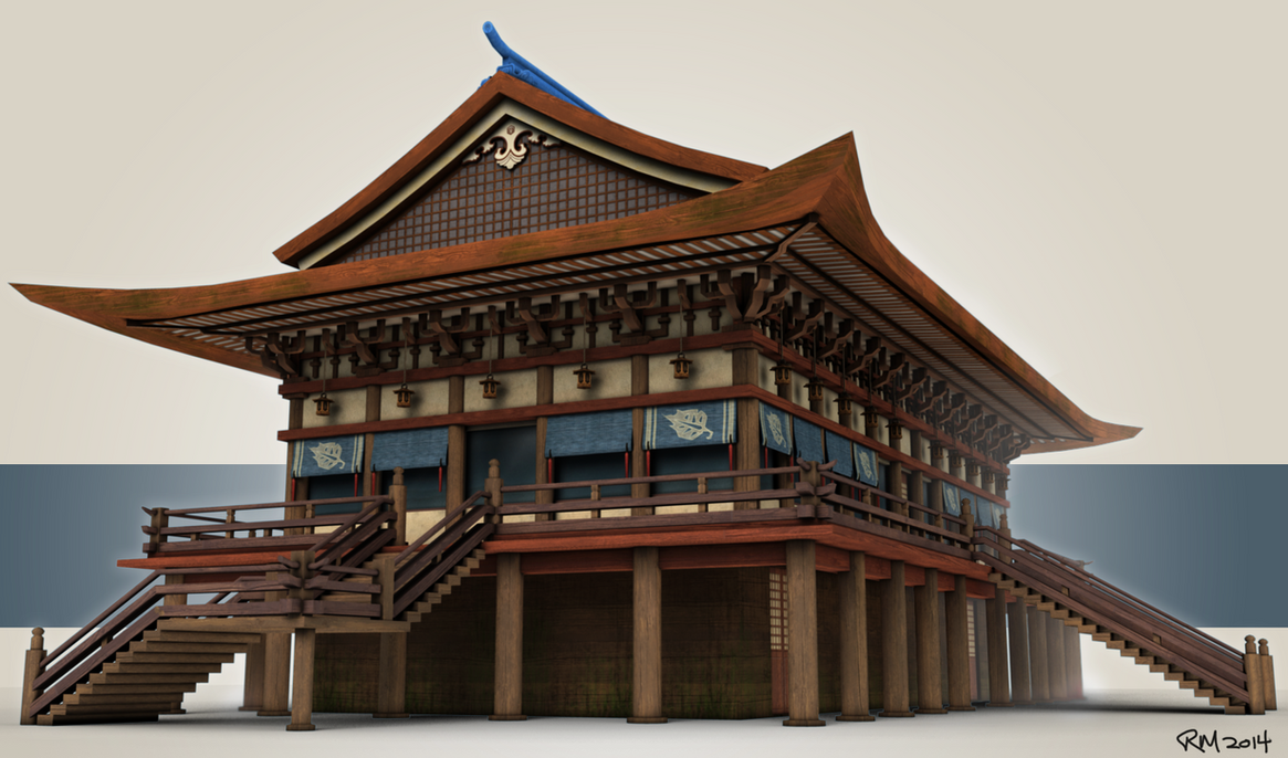 Japanese temple style building 3d model by rasherusuzie on 3d house building