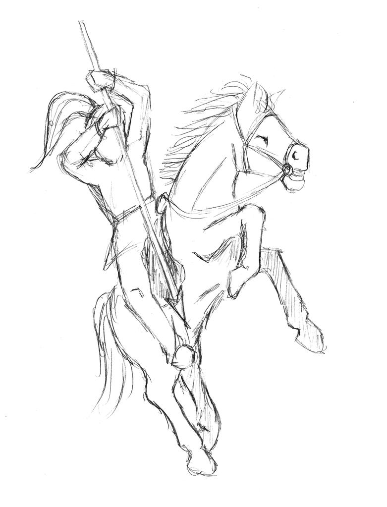 Horse And Rider Sketch By Guruhoro How To Draw