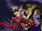 Captain Marvel Vs Thanos by Moontowhee