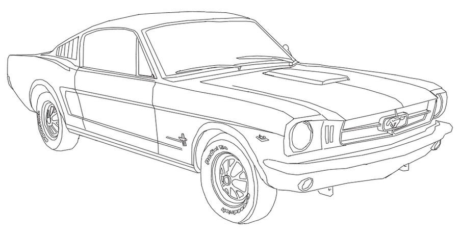 ford mustang drawings easy sketch coloring page