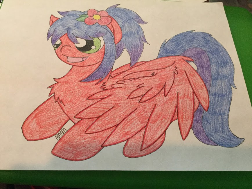 Flower loving red mare_pegasus-large (request) by ashleymcm