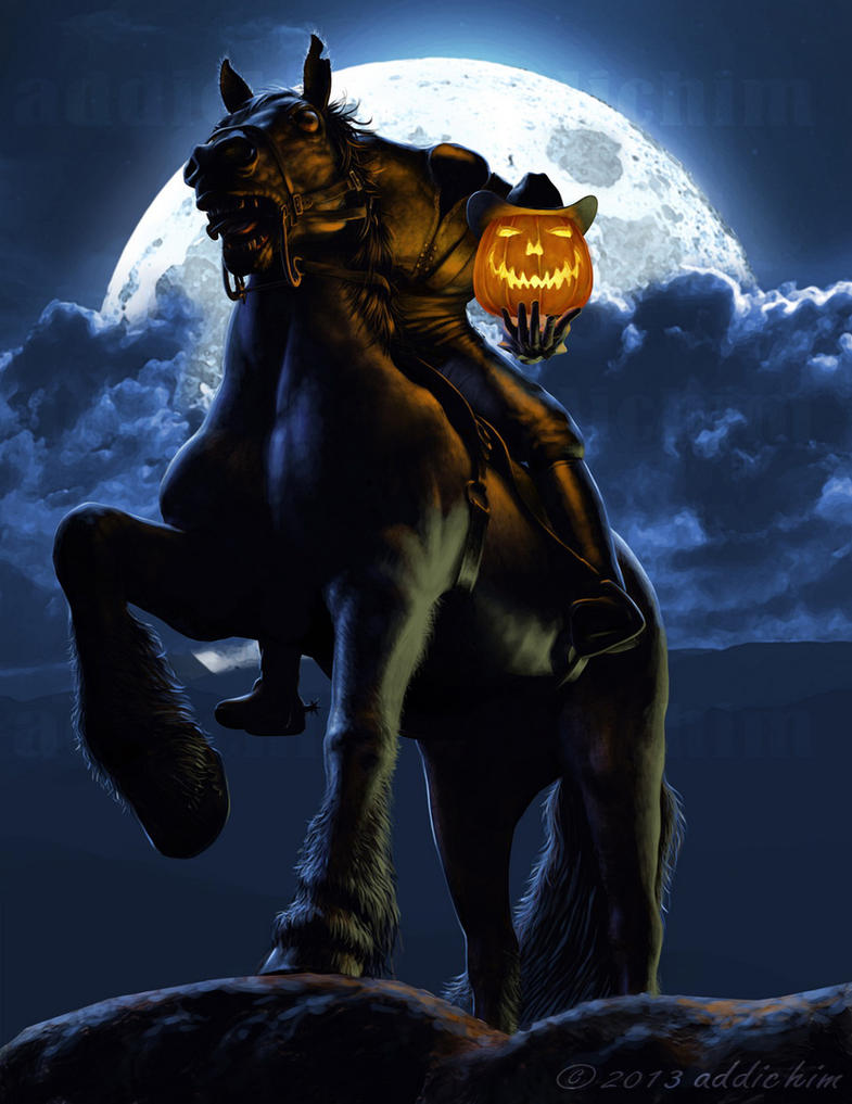 how to draw a headless horseman
