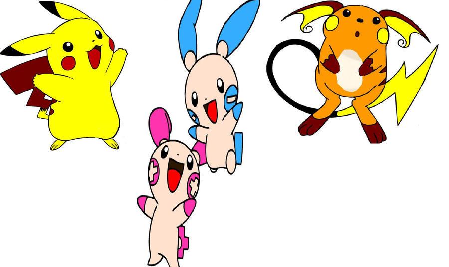 Pikachu-Raichu-Plusle-Minun by Butter-Loops25 on DeviantArt
