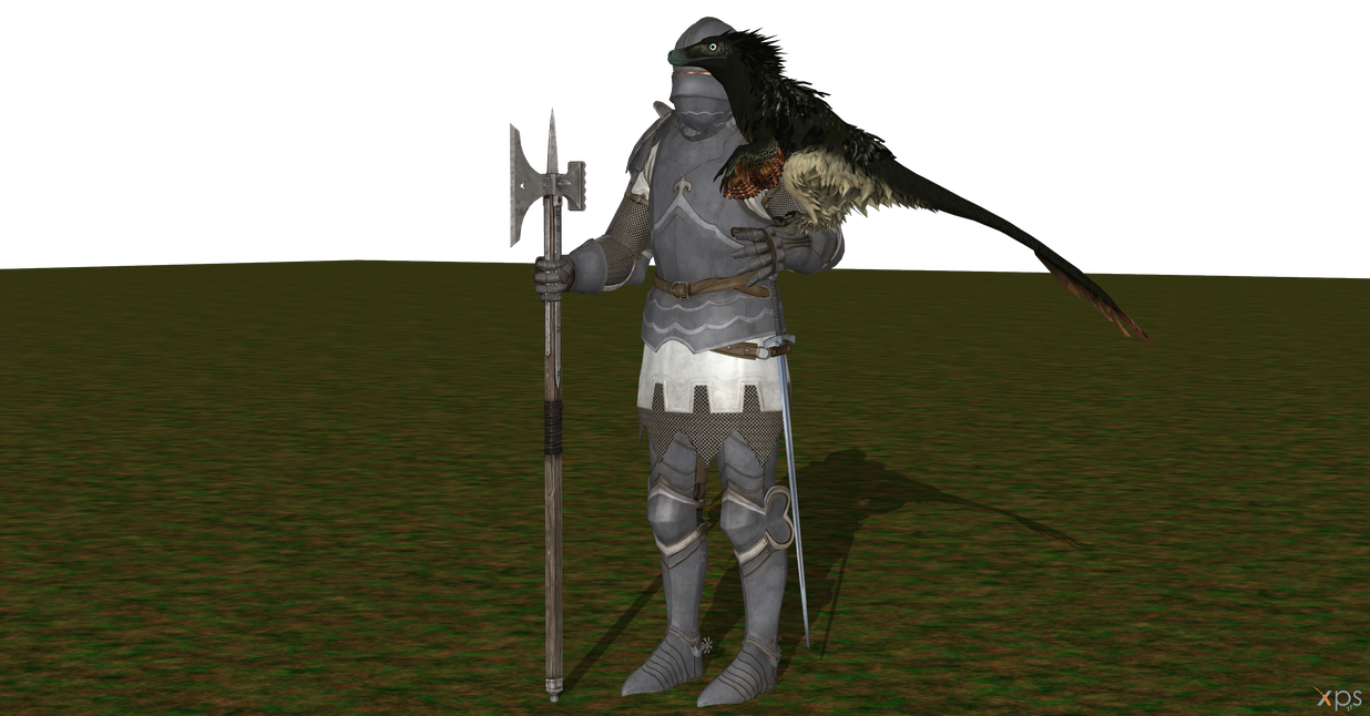 XPS Knight With Poleaxe And A Raptor 2 By DovahsaurPaleoKnight