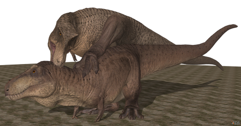 XPS T. rexes mating (The Isle models) 2 by DovahsaurPaleoKnight