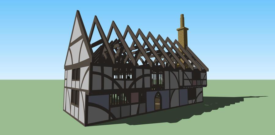 Tudor cottage with shadows by Ddagaro