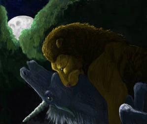 Lion and the Unicorn by brindlegreyhound