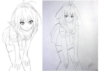 Schoolgirl Lineart Comparison by sabersdawn