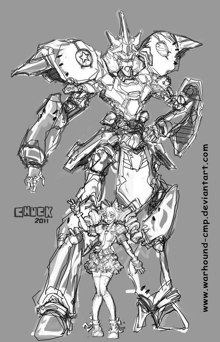 Mecha Academy M2C1 sketch by Warhound-CMP