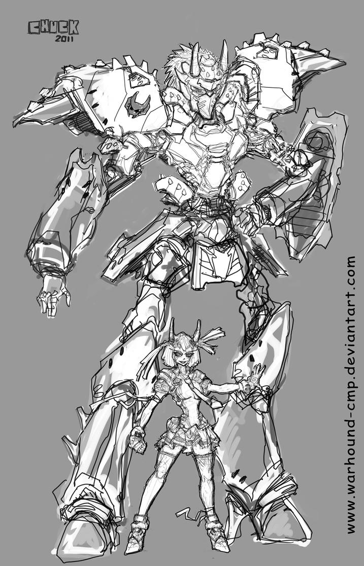 Mecha Academy M1C1 Sketch by Warhound-CMP