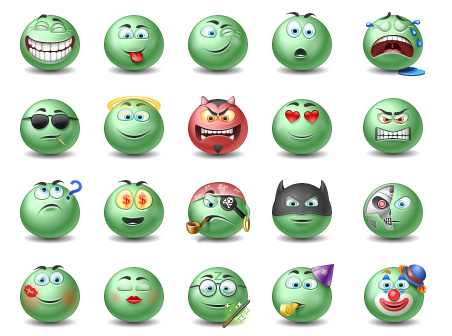 Green Emotiocns Icons set