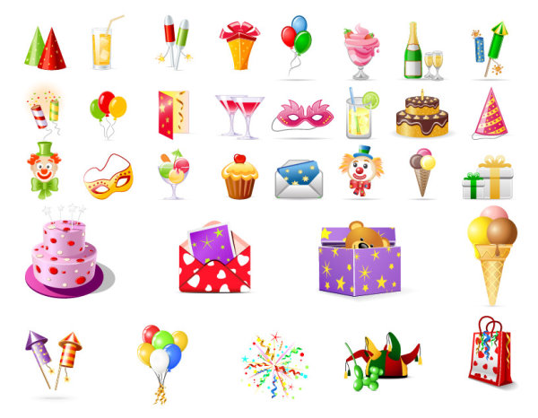 Birthday icons vector graphics by FreeIconsFinder