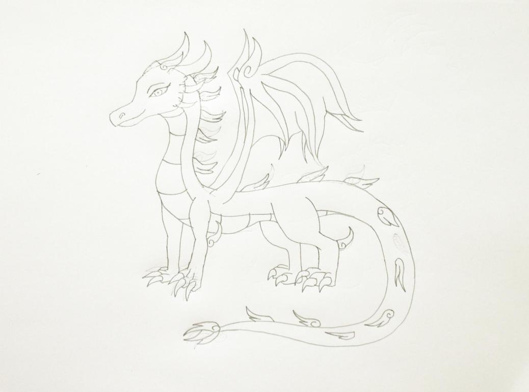 Skyla the Wind Dragon, Rough Lineart by MetroXLR99