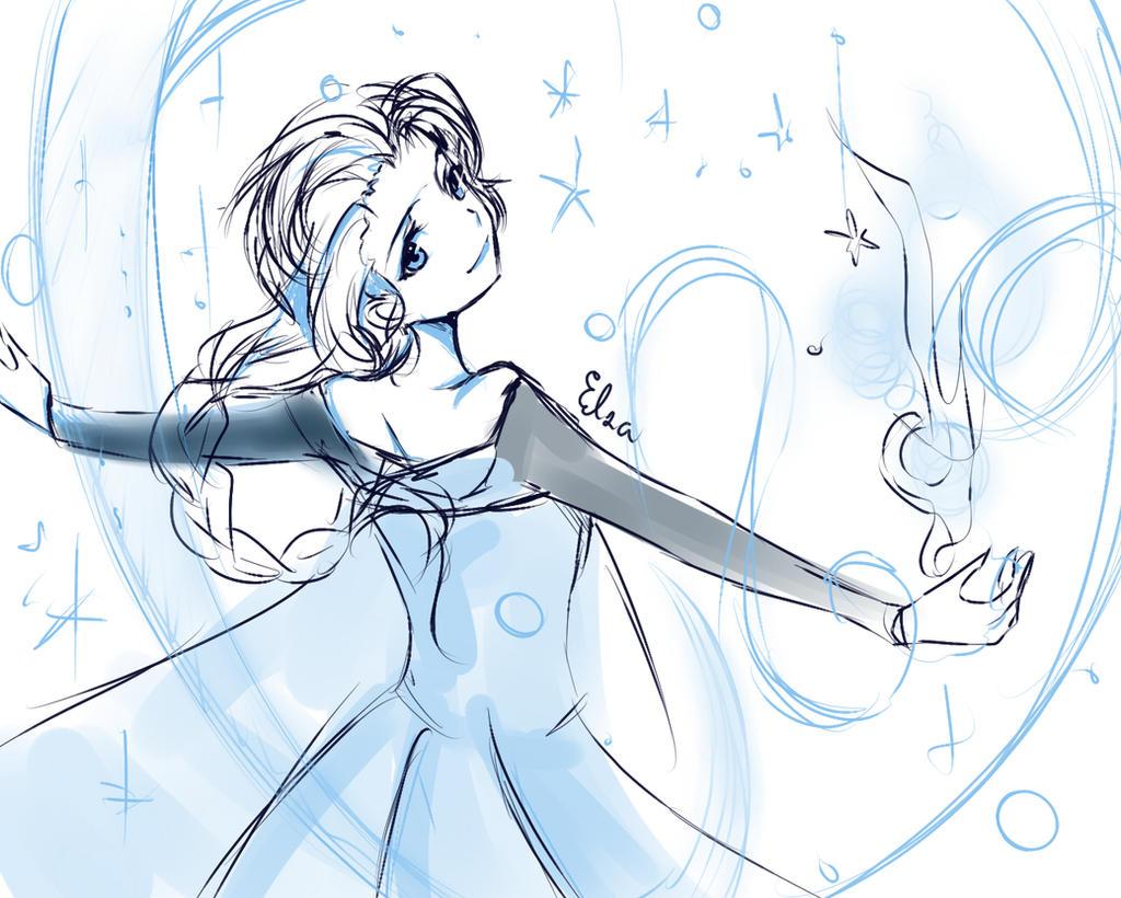 Frozen-Elsa Sketch by kichikutie23