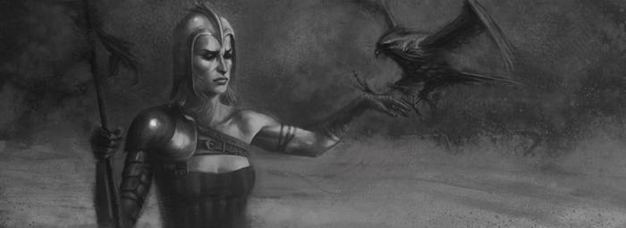 Falcon's Daughter - greyscale by magajaga