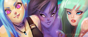 Banner -Jinx/NightElf/Morrigan (Free to Use) by customwaifus