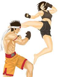 Joe Higashi vs Woman Fighter by ZandaFr