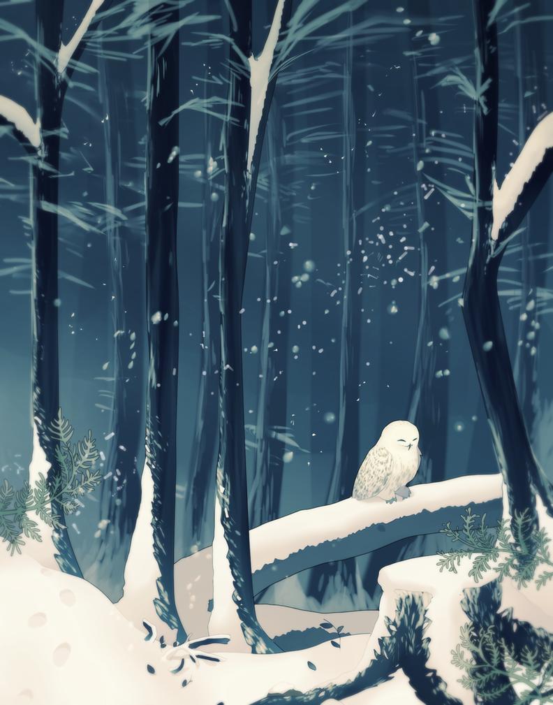 Snowy Owl Forest by longestdistance