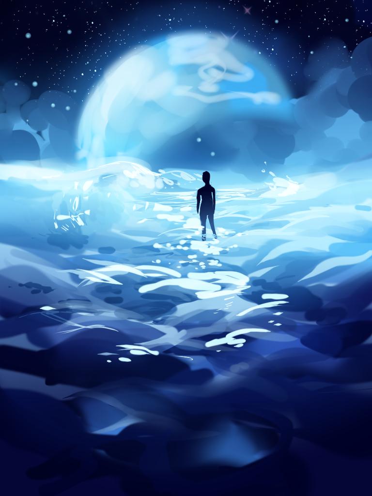 Lunar ocean by longestdistance