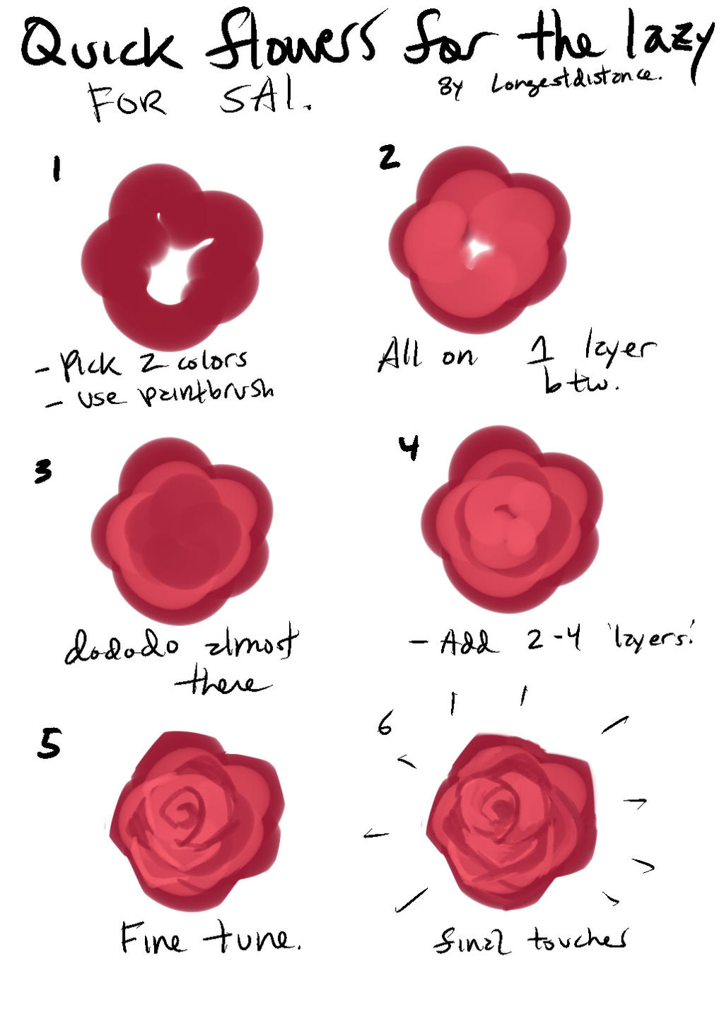 Tutorial how to bs a flower for lazy people by for Easy rose drawing tutorial