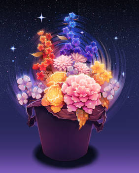 Flowers in a trash can.