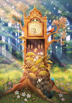 Grandfather clock terrarium.