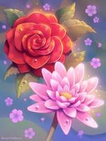 Rose and lotus.