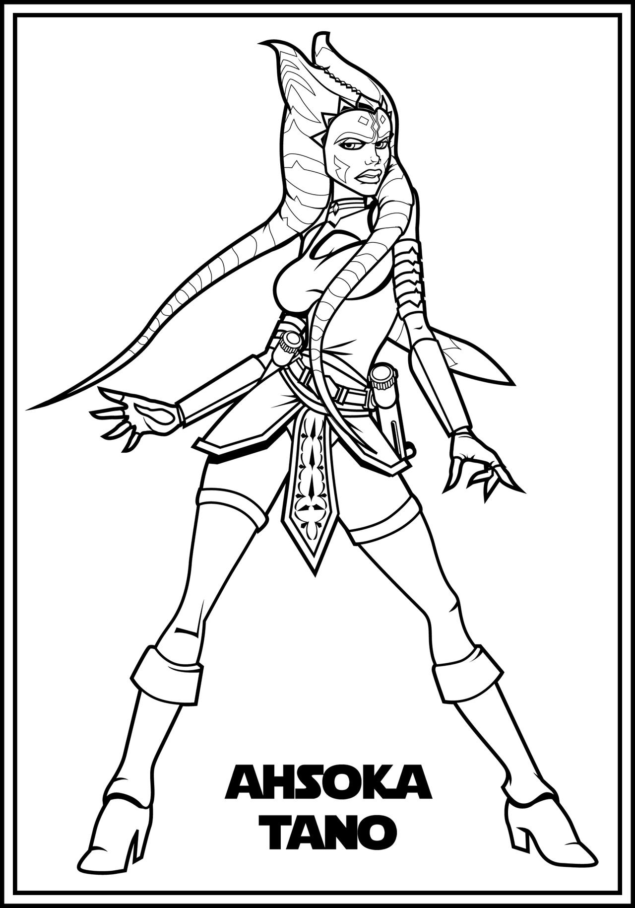 Adult ahsoka color me by the first magelord on deviantart for Star wars christmas coloring pages