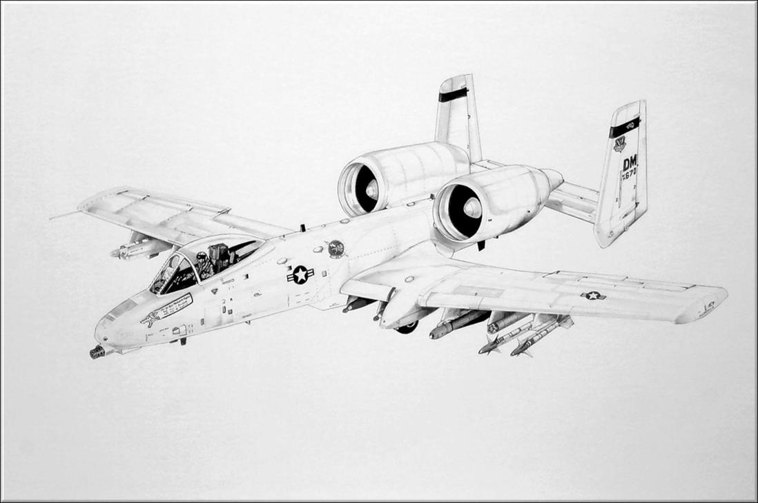 A 10 Thunderbolt Drawing The Mighty A-10 WARTHO...