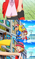 Ash Grab the hand of Serena's (Amourshipping)
