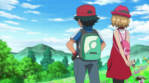 Ash and Serena looks at the Sky Together
