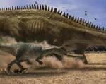 Allosaurus hunting Diplodocus by WillDinoMaster55
