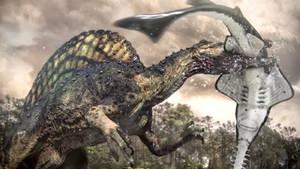 Spinosaurus kills a Onchopristis