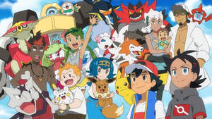 Ash and Goh's Alola Friends and Pokemon