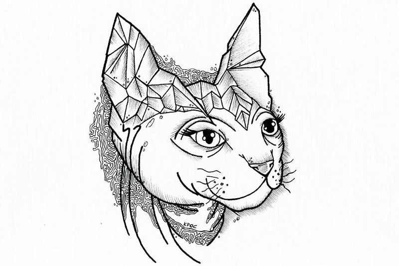Swirly Tattoo Designs Cat