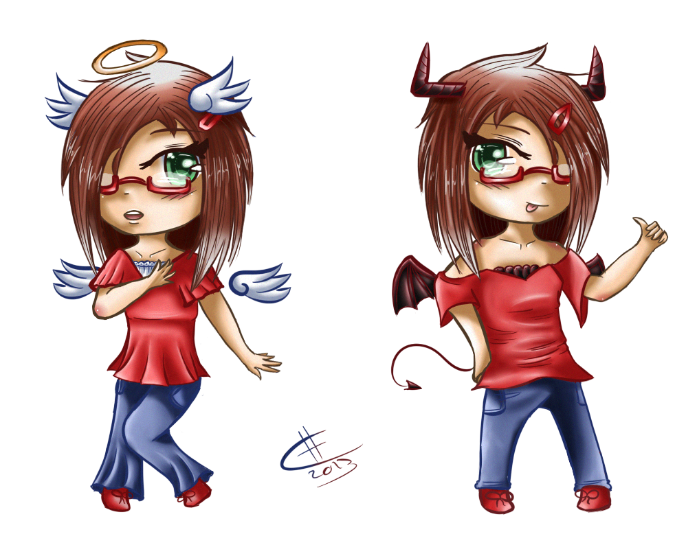 P. Commission : Angel VS Devil. by Chibiria on DeviantArt