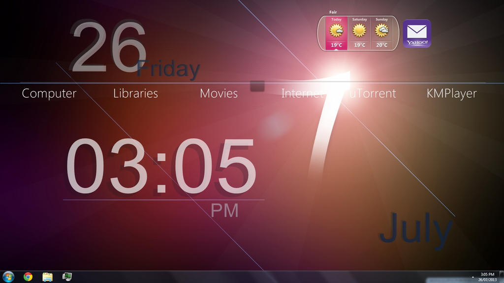 Rainmeter windows 7 simple by c3164070 on deviantart for Bureau windows 7 rainmeter