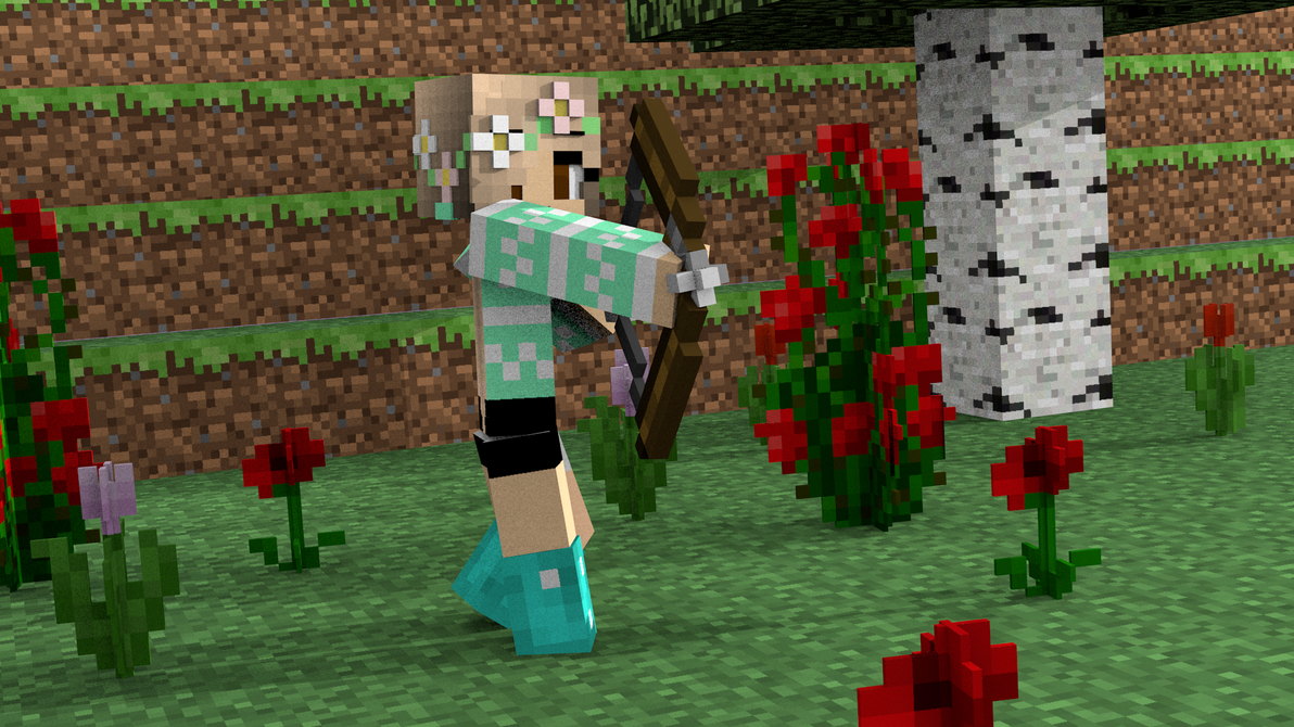 Beautiful Wallpaper Minecraft Girl - a_cute_girl_holding_a_bow_ready_to_shoot_by_kevinfon-d9ejams  Gallery_314962.png