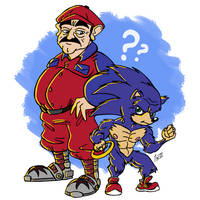 Mario and Sonic by Quelho