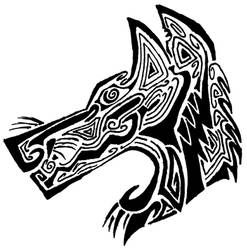 Tribal Wolf Tattoo by P40-Warhawk