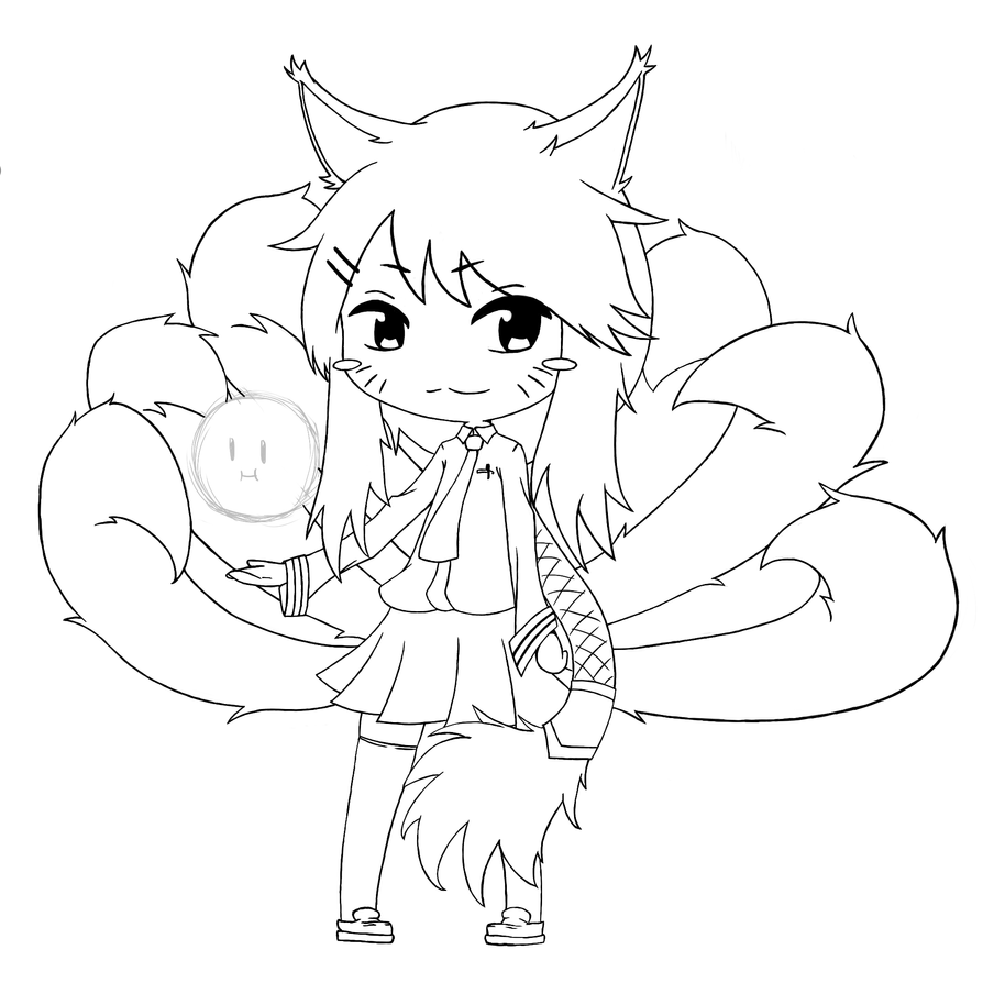 League Of Legends Chibi Ahri Drawing Line Art By