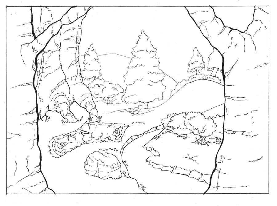 Line Art Forest : Forest line drawing sketch coloring page