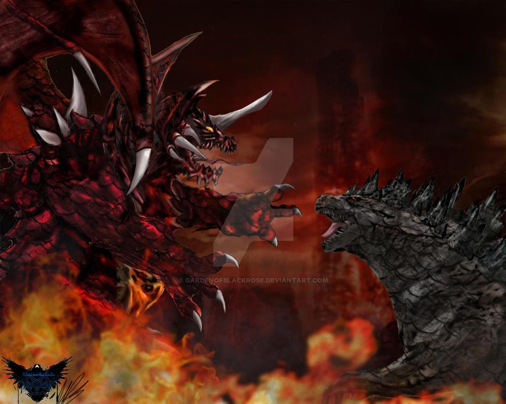 Destoroyah vs Godzilla by GardenofBlackrose