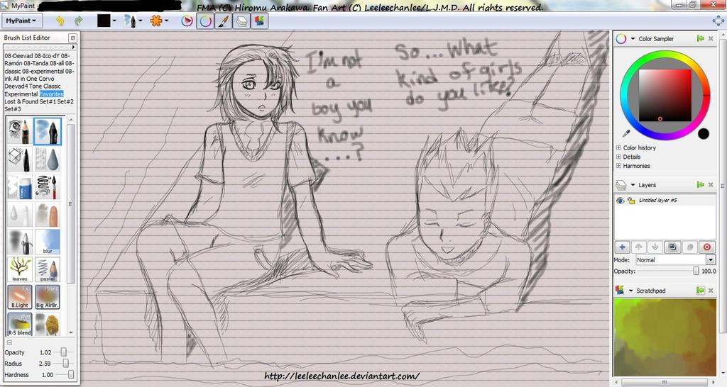 -Martel and Dorchet Talk, Sketch. by Leeleechanlee