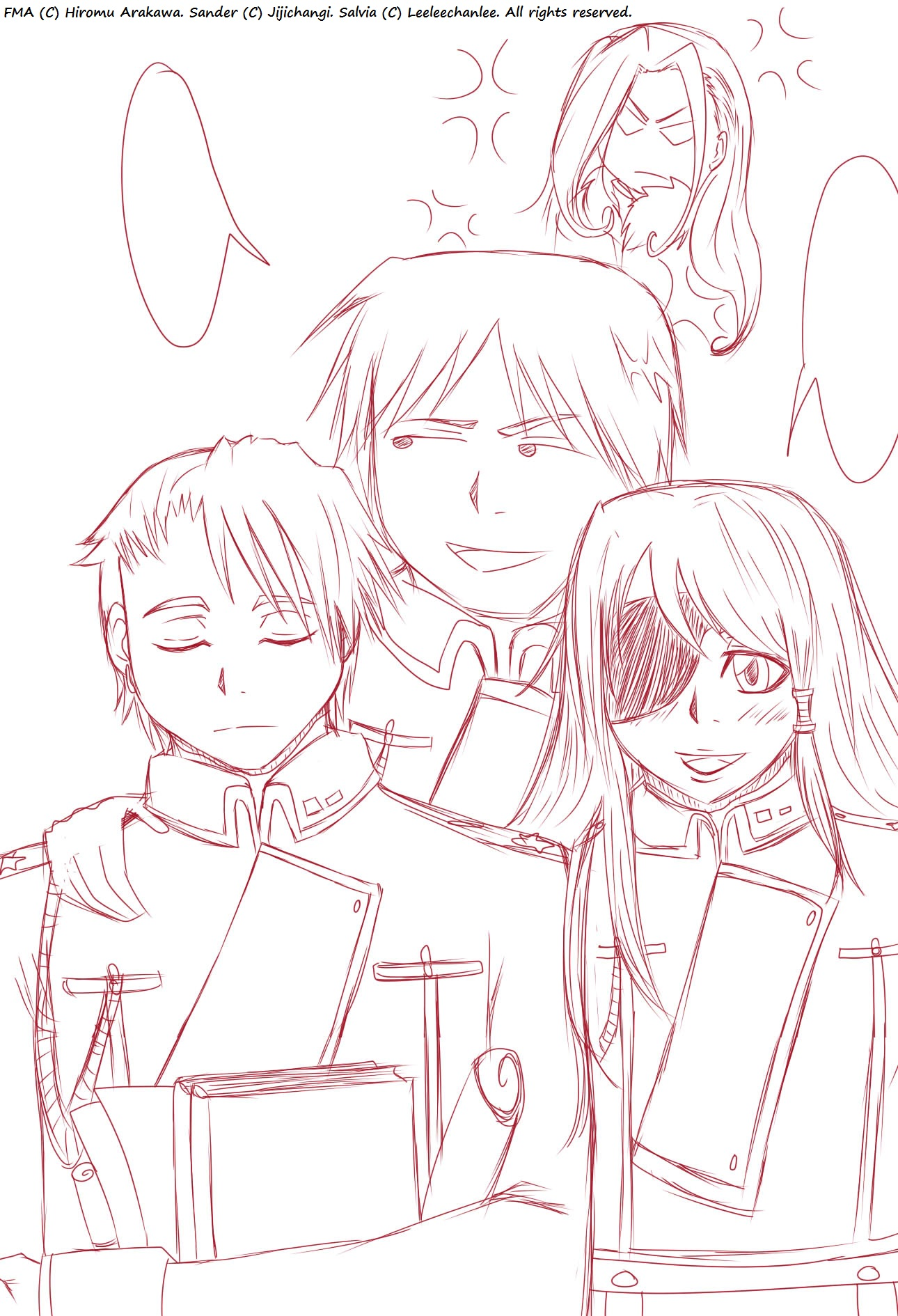 -Sander, Salvia, Roy, and Oliver Sketch. by Leeleechanlee