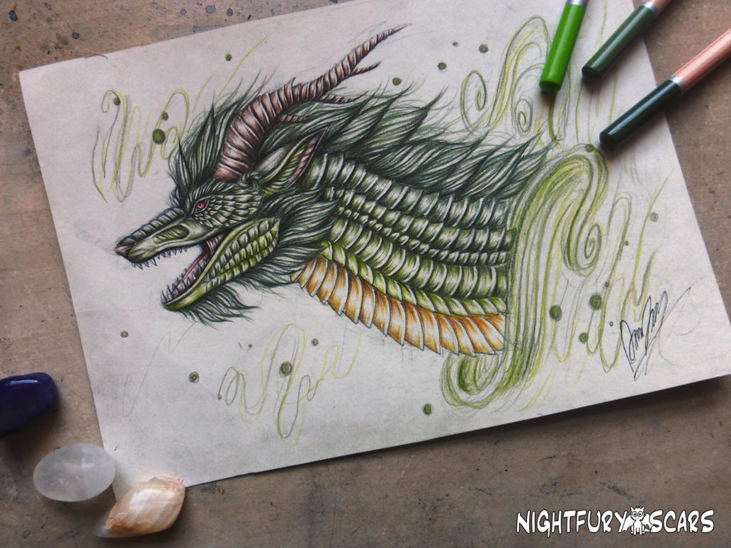 Green Eastern Dragon by nightfuryscars