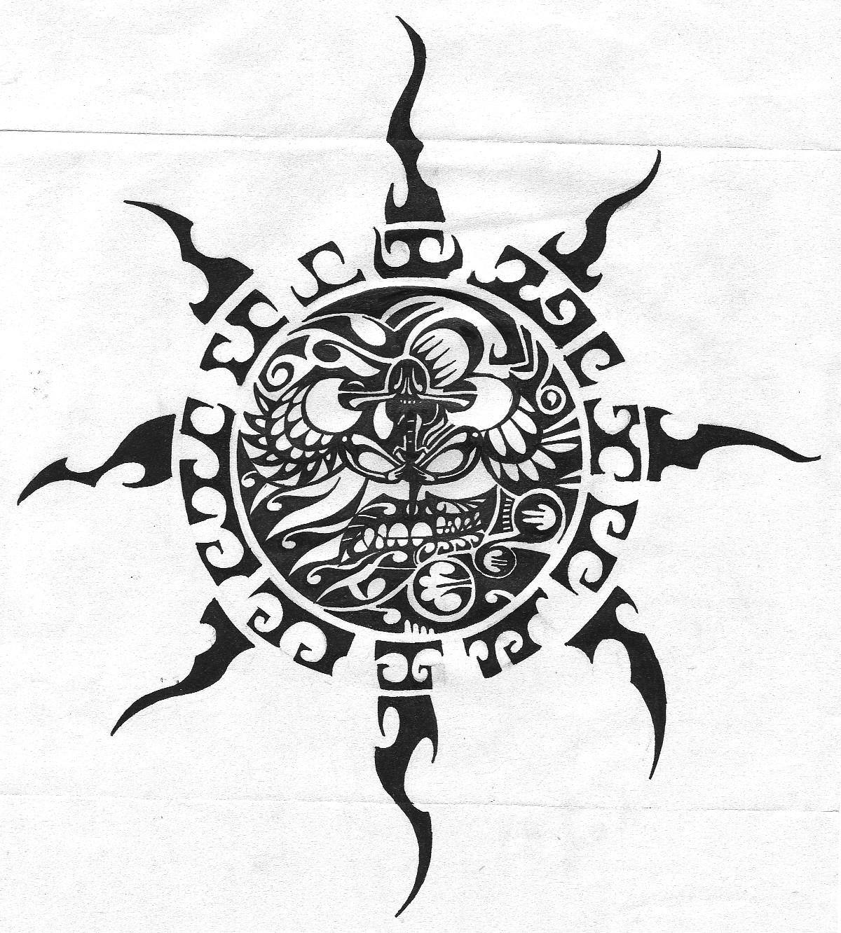 Tribal sunmoon by plangwithfire on deviantart for Sun tribal tattoos