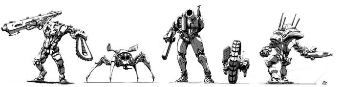 Mech Sketches by Brehnman