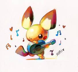 art trade: ukulele pichu by KoriArredondo